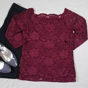 Maurices Lacy 3/4 Sleeve Blouse Size M NWT